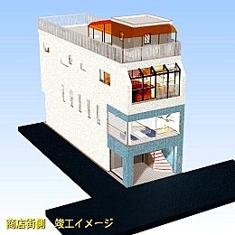 鉄骨ALC造3階建て(1・2階テナントビル、3階住居区)